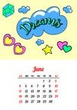 Calendar 2017 в заплатах, штырях и стикерах моды стиля шаржа 80s-90s шуточных Иллюстрация вектора искусства шипучки ультрамодно иллюстрация штока