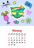 Calendar 2017 в заплатах, штырях и стикерах моды стиля шаржа 80s-90s шуточных Иллюстрация вектора искусства шипучки ультрамодно Стоковое Изображение