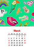 Calendar 2017 в заплатах, штырях и стикерах моды стиля шаржа 80s-90s шуточных Иллюстрация вектора искусства шипучки ультрамодно Стоковая Фотография RF