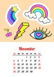 Calendar 2017 в заплатах, штырях и стикерах моды стиля шаржа 80s-90s шуточных Иллюстрация вектора искусства шипучки ультрамодно иллюстрация вектора