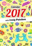 Calendar 2017 в заплатах, штырях и стикерах моды стиля шаржа 80s-90s шуточных Стоковые Фотографии RF
