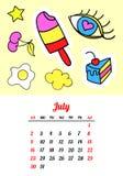 Calendar 2017 в заплатах, штырях и стикерах моды стиля шаржа 80s-90s шуточных Стоковые Изображения