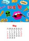 Calendar 2017 в заплатах, штырях и стикерах моды стиля шаржа 80s-90s шуточных Стоковое Фото