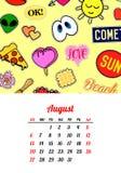 Calendar 2017 в заплатах, штырях и стикерах моды стиля шаржа 80s-90s шуточных иллюстрация вектора