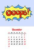 Calendar 2017 в заплатах, штырях и стикерах моды стиля шаржа 80s-90s шуточных Стоковые Изображения RF
