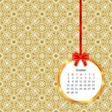 Calendar 2017 в золотой рамке круга с красным смычком на картине винтажного оформления безшовной Стоковые Фото