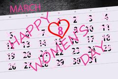 Calendar год страницы дата в марте 2018 месяцев день ` s матери 8 праздников Стоковая Фотография