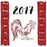Calendar 2017 год, с петухом нарисованным рукой красным Литерность месяца, неделя начинает понедельник также вектор иллюстрации п Стоковое Изображение