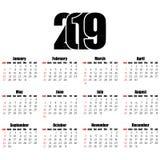 Calendar дизайн 2019 год плоский, простой стиль Стоковые Фотографии RF