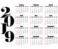 Calendar дизайн 2019 год плоский, простой стиль Стоковая Фотография RF