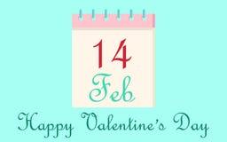 Calendar день ` s валентинки 14-ое февраля значка на голубой предпосылке человек влюбленности поцелуя принципиальной схемы к женщ иллюстрация вектора