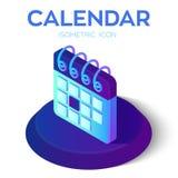 calendar икона равновеликий знак календаря 3D Созданный для черни, сеть, оформление, продукты печати, применение Улучшите для веб иллюстрация вектора