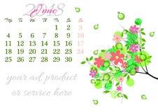 Calendar лист на 2018 -го июнь с ветвью дерева Стоковое Фото