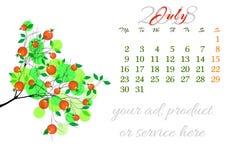 Calendar лист на 2018 -го июль с ветвью дерева Стоковые Изображения
