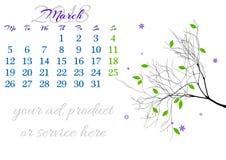 Calendar лист на 2018 -го март с ветвью дерева Стоковые Фото