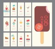 Calendar 2018, комплект мороженого, плоский дизайн, значки десерта Стоковая Фотография RF
