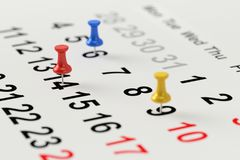 Calendar концепция для напоминания занятого, назначения и встречи перевод 3d Стоковая Фотография