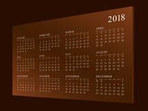Calendar на год 2018 иллюстрация штока
