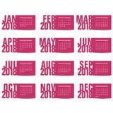 Calendar на год 2018 Стоковые Фотографии RF