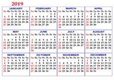 Calendar на год 2019 стоковая фотография rf