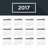 Calendar 2017 на год, простой плоский дизайн Стоковые Фотографии RF