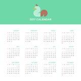 Calendar 2017 на год, плоский дизайн бесплатная иллюстрация