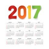 Calendar на год 2017 Стоковое Изображение RF