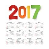Calendar на год 2017 иллюстрация вектора