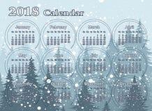 Calendar на год 2018 Стоковое Изображение