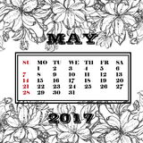 Calendar 2017 на месяце мая на предпосылке зацветая ветвей яблони Стоковые Фото