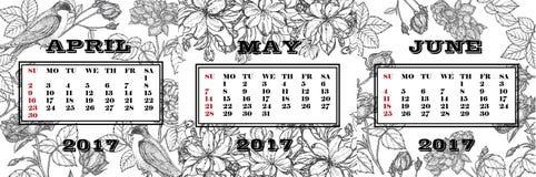 Calendar на 2-ой квартал 2017 Светотеневой календарь с покрашенными розами, цветя ветвями яблока и ласточками Стоковая Фотография RF