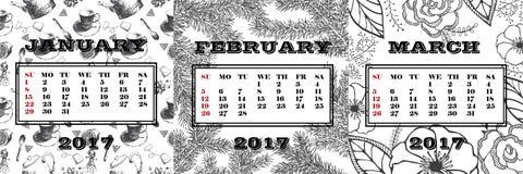Calendar на 1-ый квартал 2017 Январь, февраль и март на предпосылке покрашенной вручную иллюстрация штока