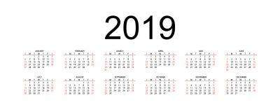 Calendar 2019, неделя начинает от воскресенья, шаблона дела вектора 2019 календарей бесплатная иллюстрация