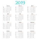 Calendar 2019, неделя начинает от воскресенья, шаблона дела Концепция, шаблон вектора вертикальный editable Стоковая Фотография RF