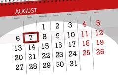 Calendar плановик на месяц, день крайнего срока недели, 2018 7-ое августа, вторник иллюстрация вектора