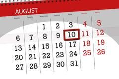 Calendar плановик на месяц, день крайнего срока недели, 2018 10-ое августа, пятница Иллюстрация вектора