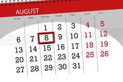 Calendar плановик на месяц, день крайнего срока недели, 2018 8-ое августа, среда иллюстрация вектора