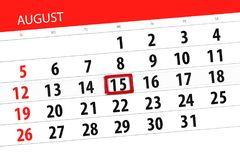 Calendar плановик на месяц, день крайнего срока недели, 2018 15-ое августа, среда Стоковые Изображения
