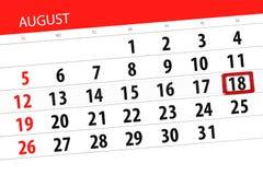 Calendar плановик на месяц, день крайнего срока недели, 2018 18-ое августа, суббота Иллюстрация вектора