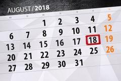 Calendar плановик на месяц, день крайнего срока недели, 2018 18-ое августа, суббота стоковая фотография rf