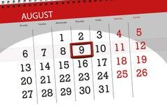 Calendar плановик на месяц, день крайнего срока недели, 2018 9-ое августа, четверг Иллюстрация вектора