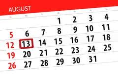 Calendar плановик на месяц, день крайнего срока недели, 2018 13-ое августа, понедельник Стоковое Изображение