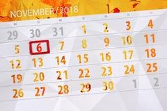 Calendar плановик на месяц, день крайнего срока недели 2018 6-ое ноября, вторник иллюстрация штока