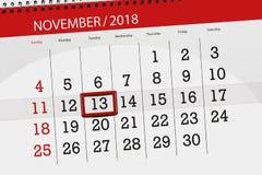 Calendar плановик на месяц, день крайнего срока недели 2018 13-ое ноября, вторник иллюстрация вектора