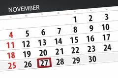 Calendar плановик на месяц, день крайнего срока недели 2018 27-ое ноября, вторник иллюстрация штока