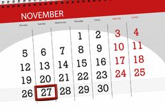 Calendar плановик на месяц, день крайнего срока недели 2018 27-ое ноября, вторник иллюстрация вектора