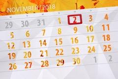 Calendar плановик на месяц, день крайнего срока недели 2018 2-ое ноября, пятница иллюстрация штока