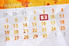 Calendar плановик на месяц, день крайнего срока недели 2018 9-ое ноября, пятница иллюстрация штока