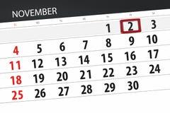Calendar плановик на месяц, день крайнего срока недели 2018 2-ое ноября, пятница иллюстрация вектора