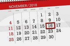 Calendar плановик на месяц, день крайнего срока недели 2018 16-ое ноября, пятница иллюстрация штока